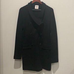 Cabi black sweater/coat with faux fur collar.